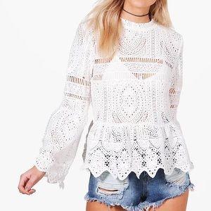 Katy Crochet Lace Peplum Bell Sleeve Top